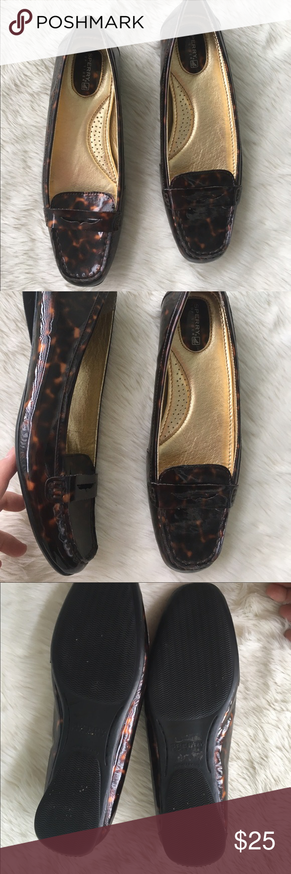 Sperry tortoise design loafers Sz 10 Sperry tortoise design shoes Sz 10. Gently worn condition Sperry Shoes Flats & Loafers