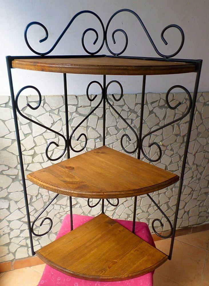 Scaffale mensola ad angolo rustica in ferro battuto legno for Mensole in ferro battuto