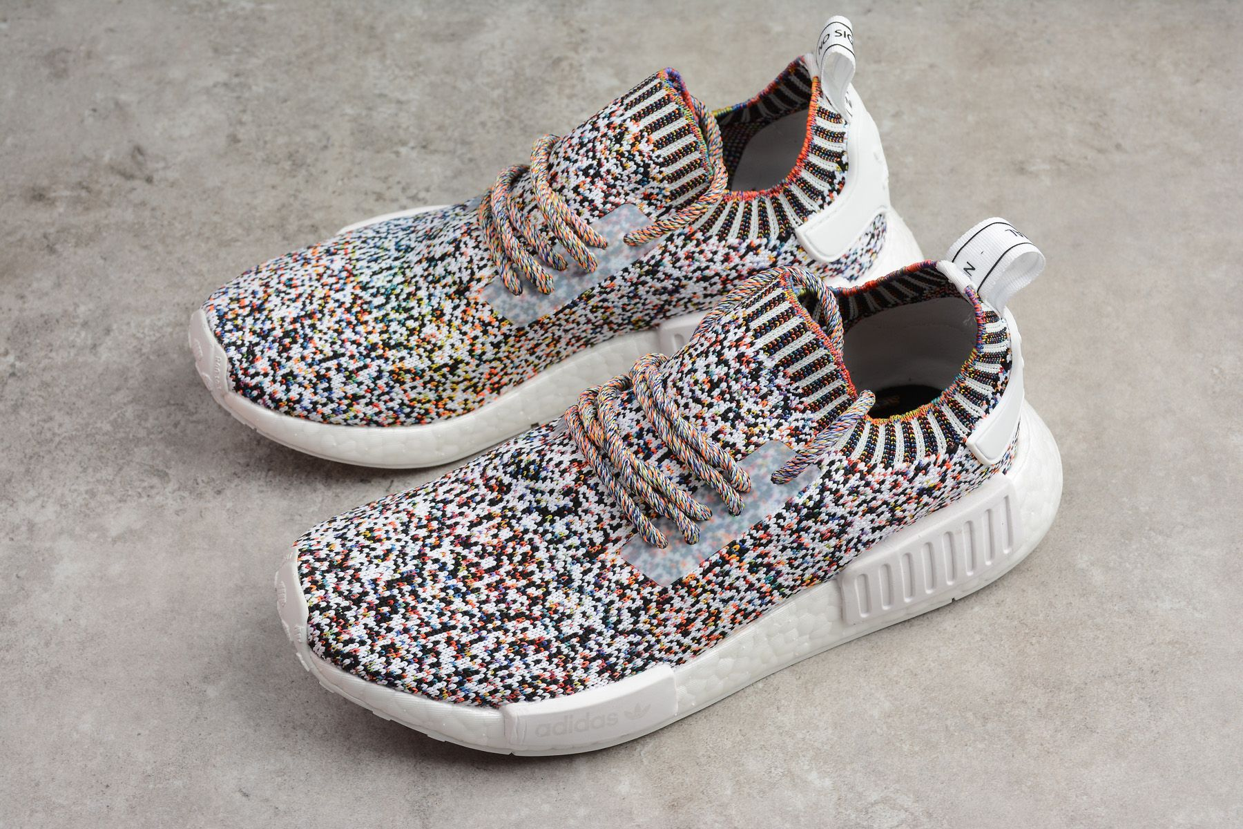 "new product 40911 983b8 2018 New adidas NMD R1 ""Color Static"" WhiteBlack-Mutli-Color BW1126"