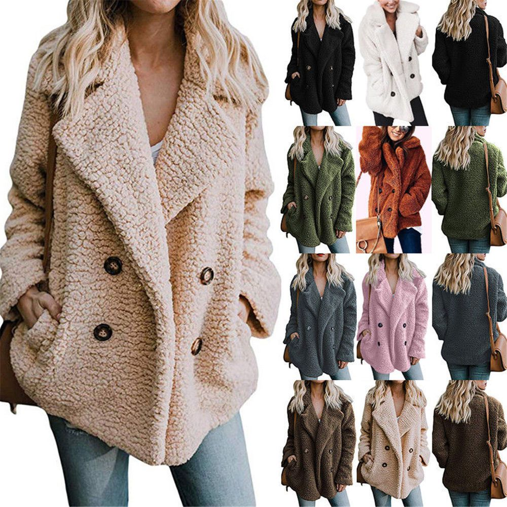 US Women Ladies Warm Fleece Tops Jacket Button Oversize Outerwear Cardigan Coats