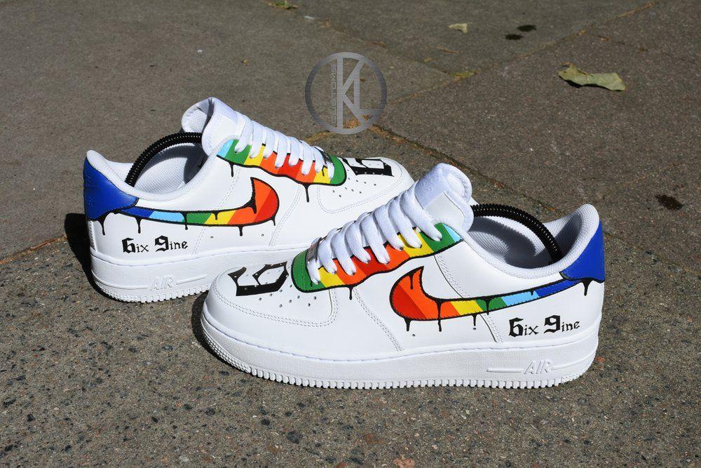 6ix9ine Nike Air Force 1 Custom | Nike schoenen, Diy schoenen
