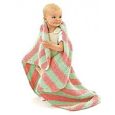Knit Bright Stripes Baby Blanket in Lion Brand Homespun ...