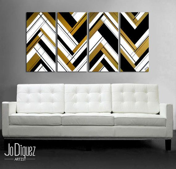 Original Abstract Painting 51x24 Quot 4 Piece Canvas Art Large Painting Black And Gold Geometric Wall Art Geometric Wall Art Large Painting Modern Wall Art