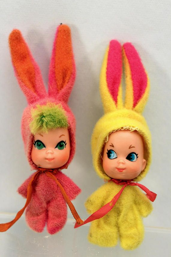 2 Liddle Kiddle Funny Bunnies Animiddle Pink and Yellow 1969