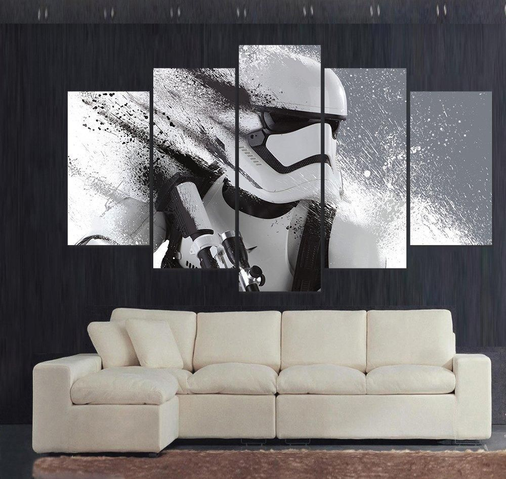 5 Piece Print Painting Stormtrooper Star Wars Movie Poster Picture Beauteous Painting Designs On Walls For Living Room Inspiration Design