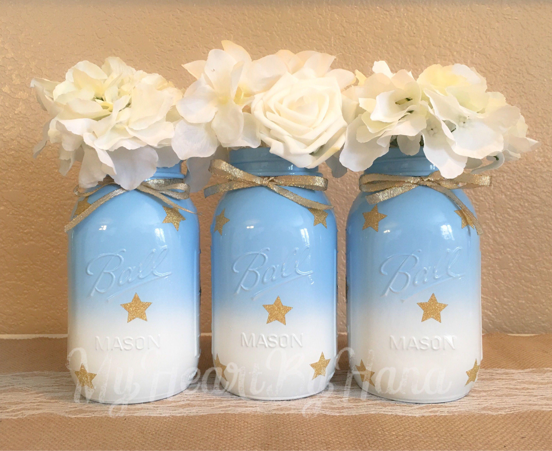 Baby Shower Mason Jars Twinkle Twinkle Little Star Painted Mason