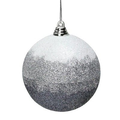 Northlight 3 Silver And White Striped Glittery Ball Christmas Ornament Northlight Glass Bowl Centerpieces Christmas Ornaments