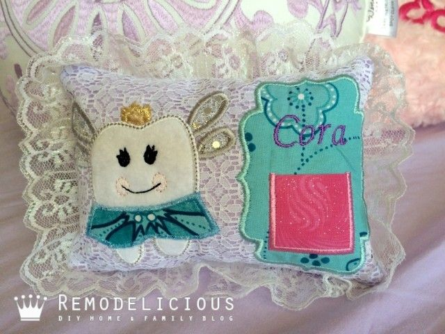 DIY Tooth Fair Pillow Embroidery Appliqué by Lovely Leaf Appliqué on Etsy Pirate and Fairy Designs | Remodelicious