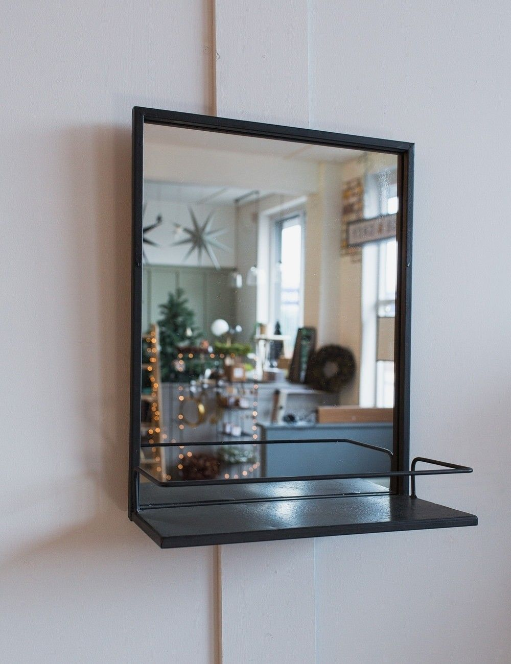 Black Iron Mirror with Shelf at Rose & Grey | Mirror with ...