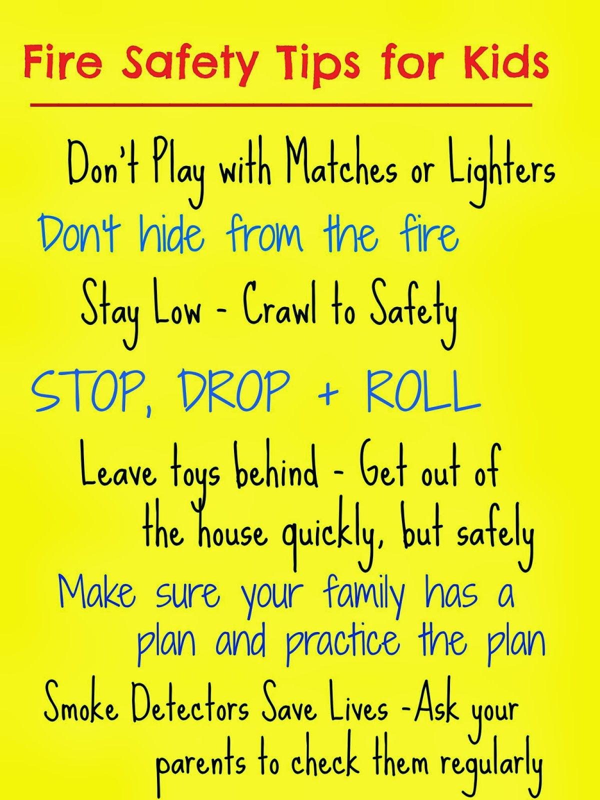 does your family have a fire plan do you talk about fire safety