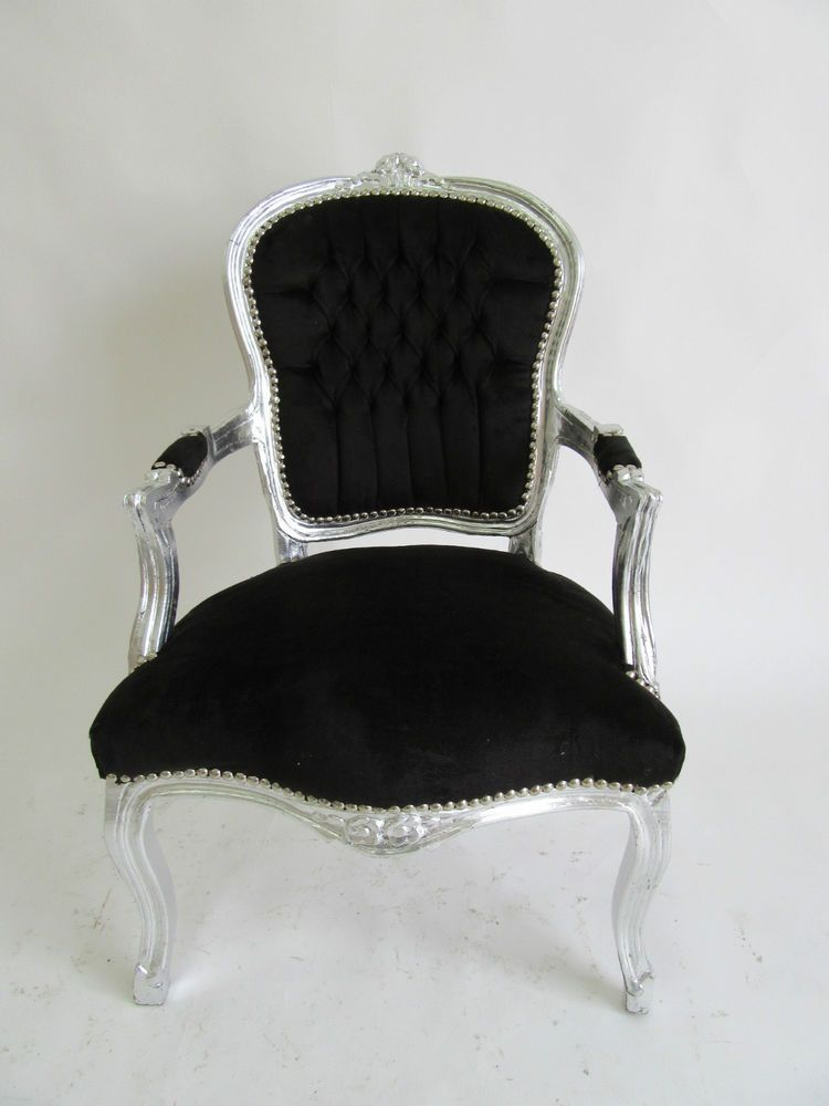 Baroque Armchair Accent Chair Silver And Black Velvet | EBay