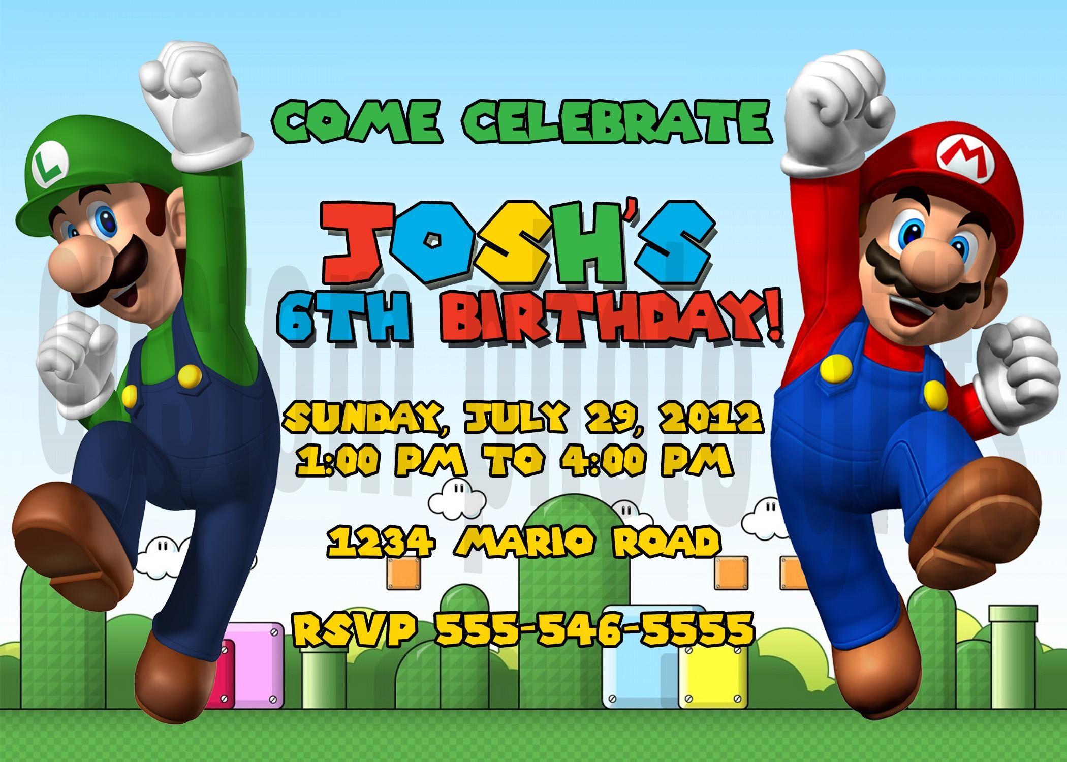 Get Super Mario Bros Birthday Invitations