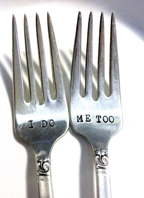 Matching I do - Me Too  PERSONALIZED Vintage silver plate forks via Etsy