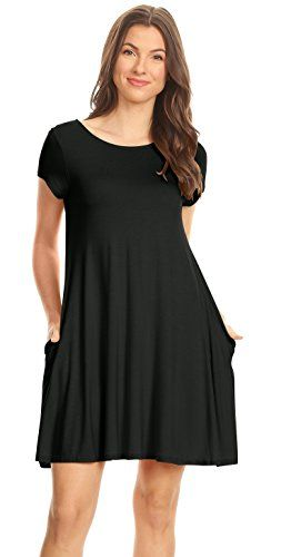 Casual T Shirt Dress for Women Flowy Tunic Dress with Pockets Reg and Plus Size | Shop For Trendy | Online Trendy Shop