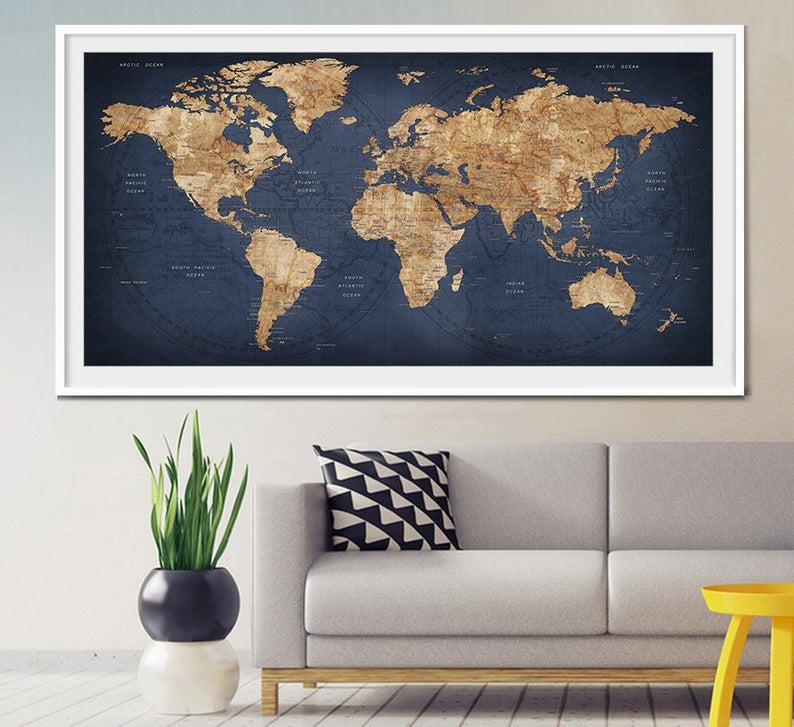 World map push pin, Large world map, Abstract World Map, Travel Gift, Wall Decor Wanderlust Worldmap poster print, decorative push pins (L2) #worldmapmural World map push pin Large world map Abstract World Map | Etsy #worldmapmural