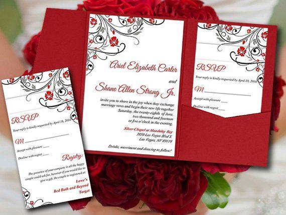 Wedding Pocketfold Invitation Template Diy