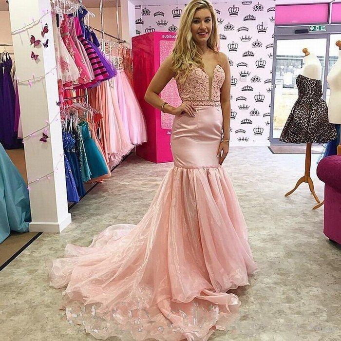 Pink Satin Organza Mermaid Prom Dresses Lace Appliques Sweep Train ...