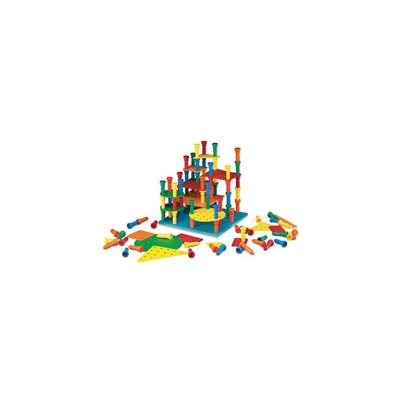 "This building set was designed to enhance learning experiences. The three-dimensional stacking set teaches students to think ahead as they plan where they will set the Tall Stacker pegs to build the next platform. Set teaches shape, size, and color relationships as well as developing fine-motor and math skills. Includes 100, 2-5/8"" Tall-Stacker pegs; 100-hole rubber peg board base mat; and 17 crepe rubber shape and color tower mats. Intended for ages 3 years and up. #CMSchoolsupply"