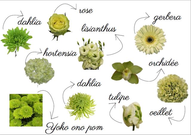 fleurs vert clair