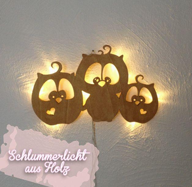 Schlummerlampe eulchen lilo pit und flo eulen eule kinderlampe lampe m931 all unsere produkte - Wandlampe holz basteln ...