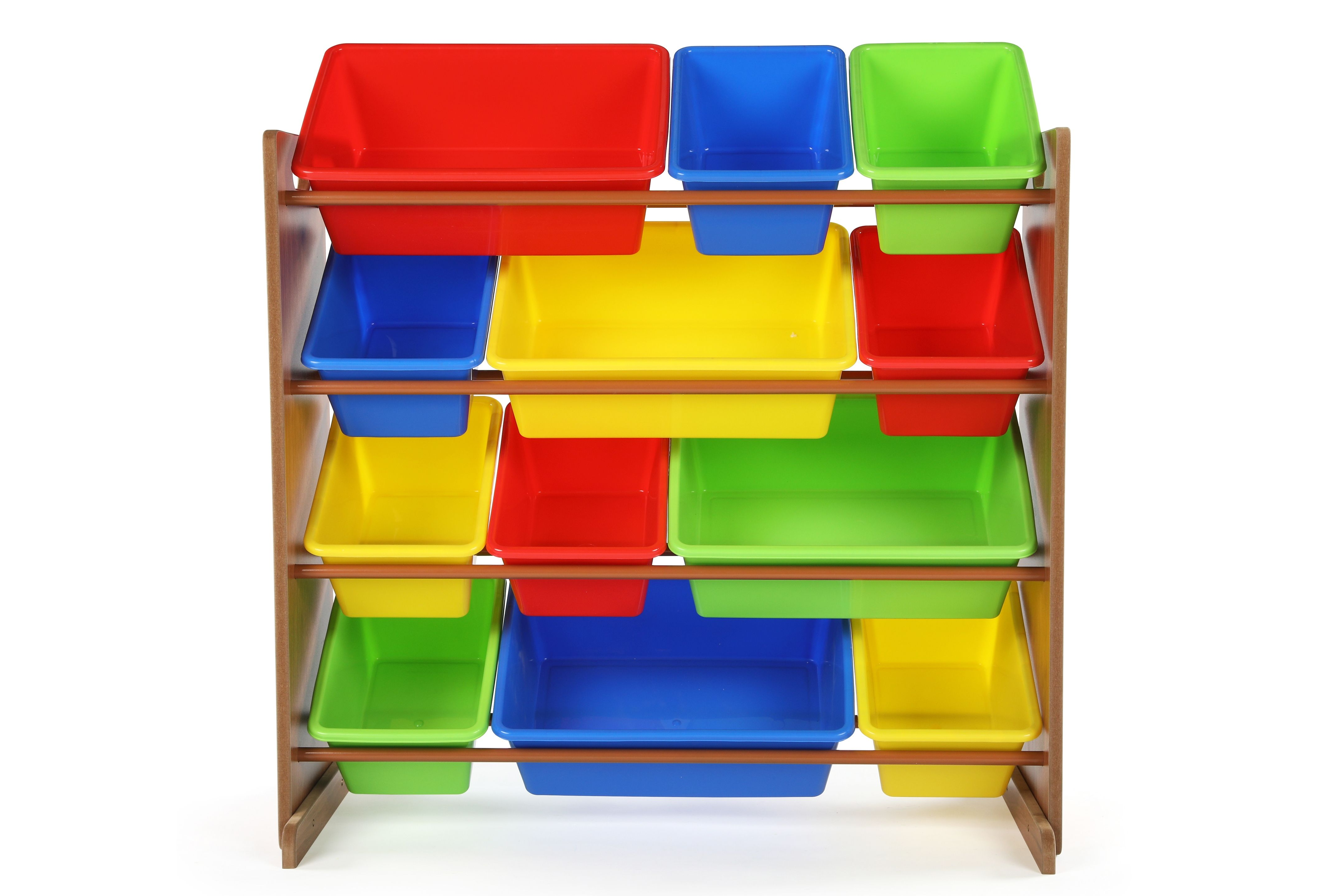 Kids Highlight Toy Storage Organizer With Twelve Plastic Bins Pine Toy Storage Organization Kid Toy Storage Plastic Bins
