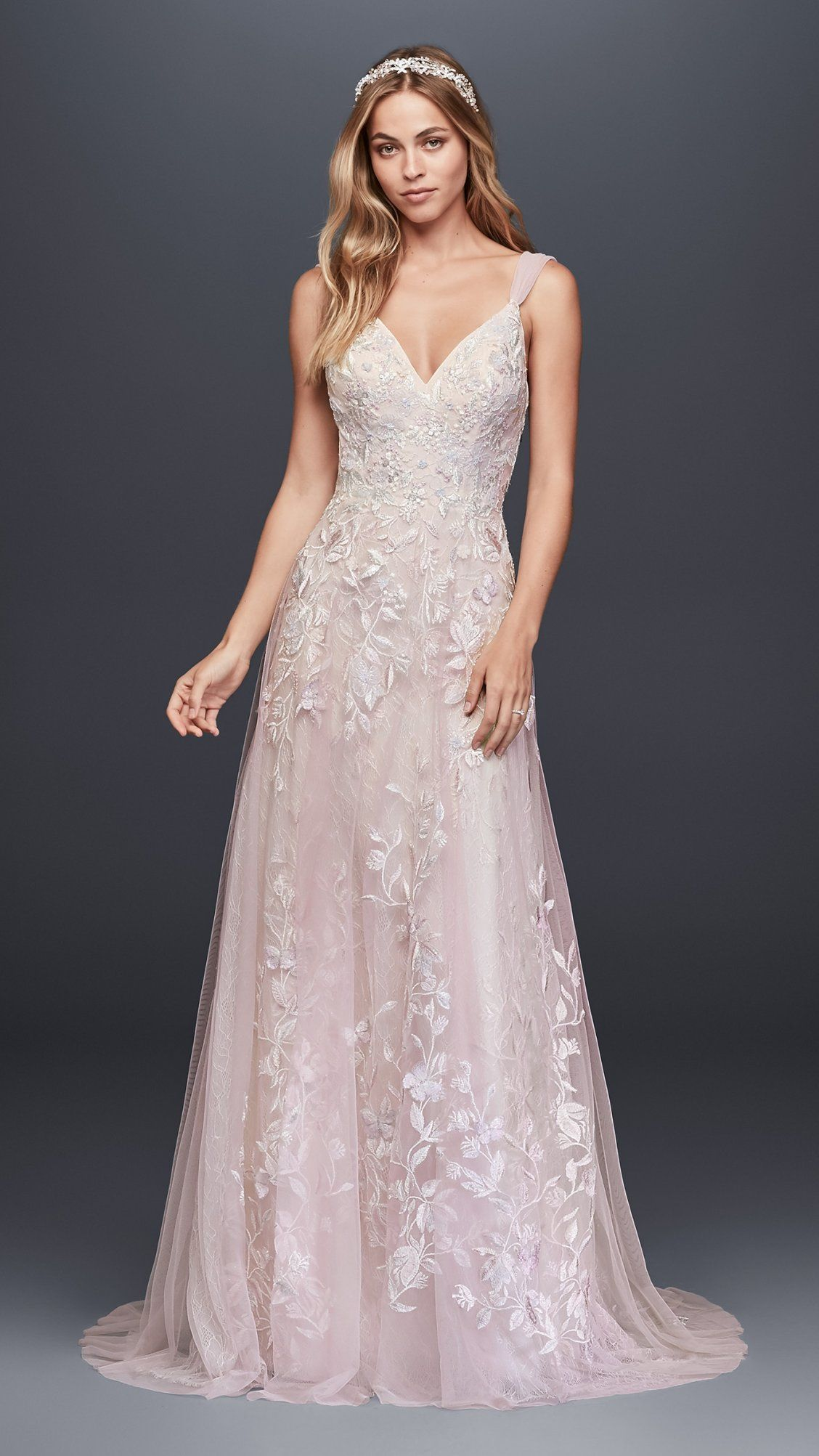 Romantic wedding dress with airy tulle and lace | Pale Pink ...