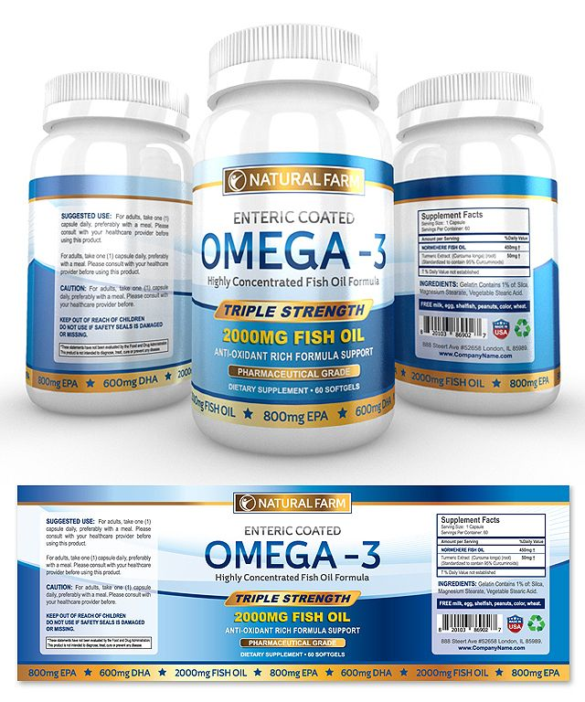 Omega Fish Oil Supplement Label Template  Packaging  Health