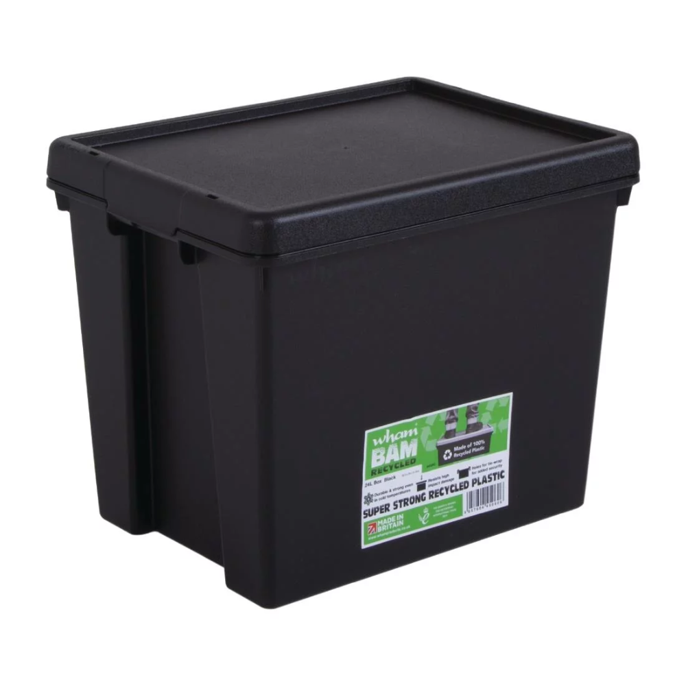 Wham Bam Heavy Duty Storage Box And Lid Black 24ltr Storage Boxes With Lids Heavy Duty Storage Boxes Plastic Box Storage