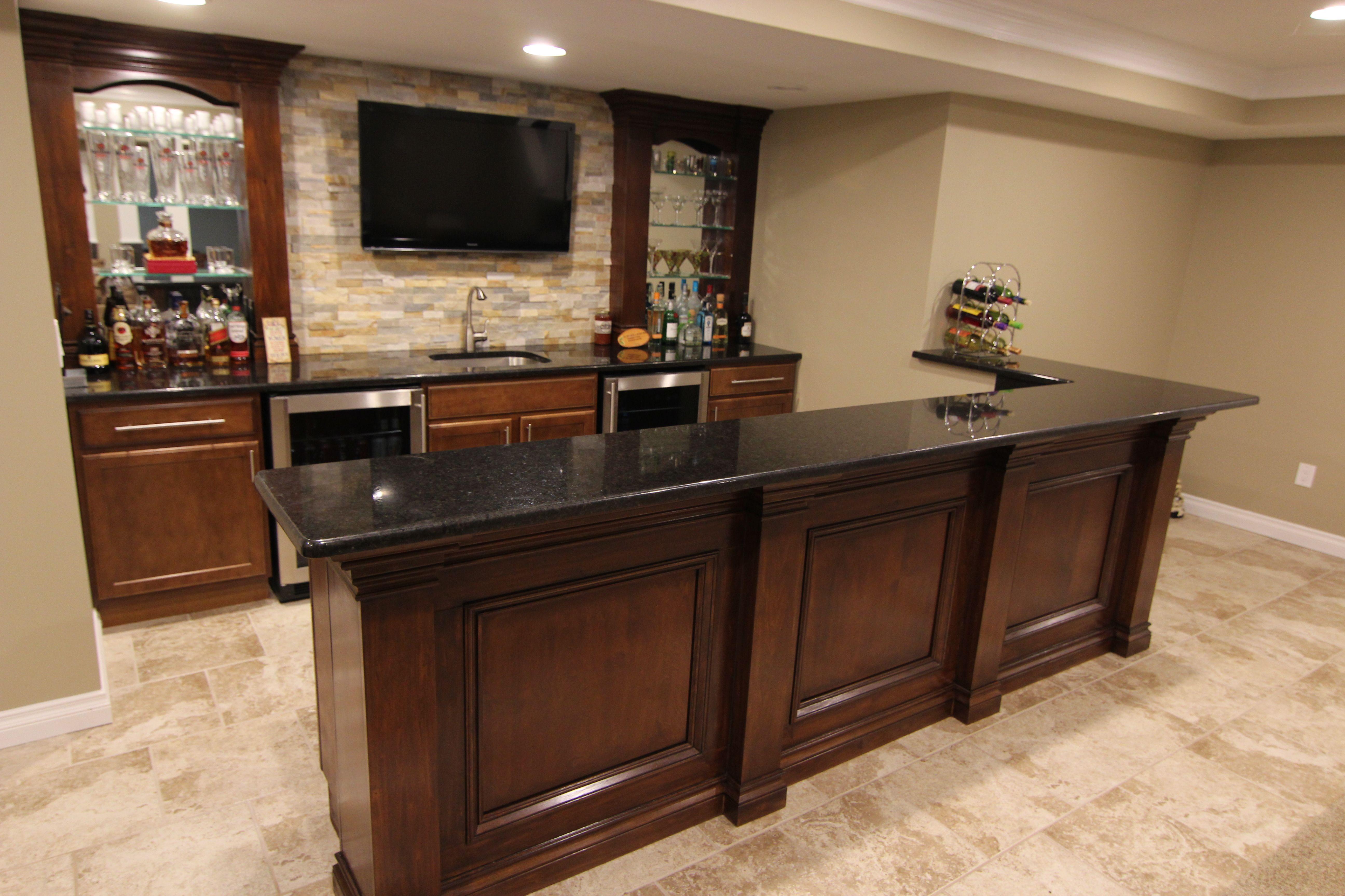 merillat classic basement bar designed by mans kitchen Big Basement Kitchen Design Basement Kitchen Layouts