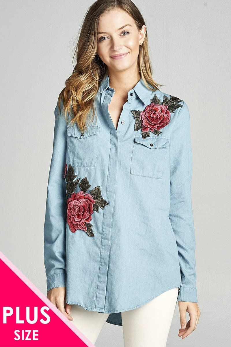 1fa98c53b3d36 Plus size 3 4 roll up sleeve hidden buttons tunic chambray shirts w rose  patched