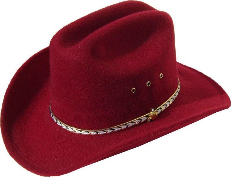 c2543edb919 Child Cattleman Maroon faux felt traditional cowboy hat