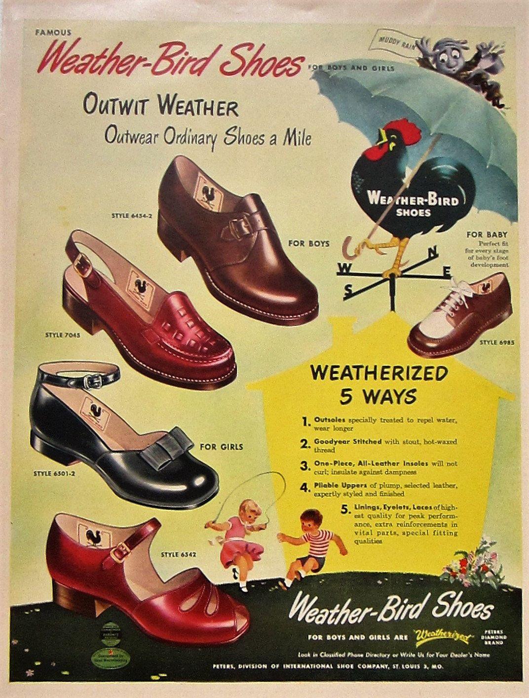 weather bird shoes vintage advertisement bedroom wall art