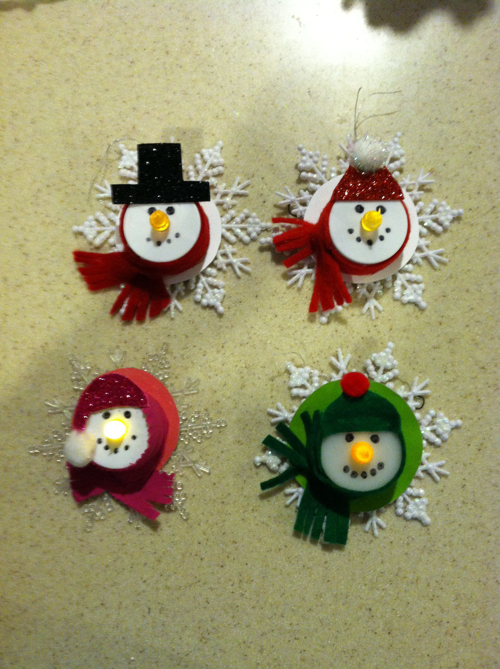 Snowman Family Made From Tea Lights Christmas Ornament Crafts Tea Light Crafts Christmas Crafts