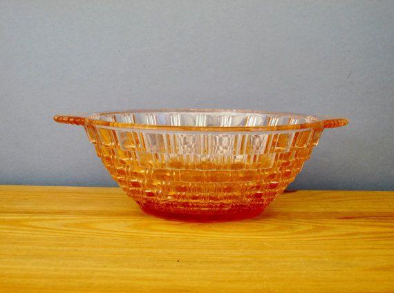 Decorative Colored Glass Bowls Art Deco Pink Glass Bowl 1930S Home Decorqueensparkvintage