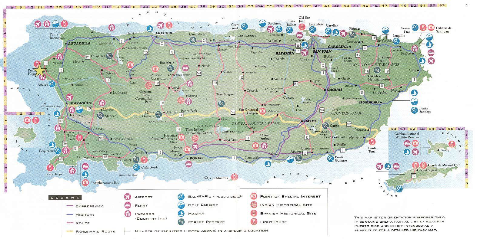 Large Detailed Road And Tourist Map Of Puerto Rico