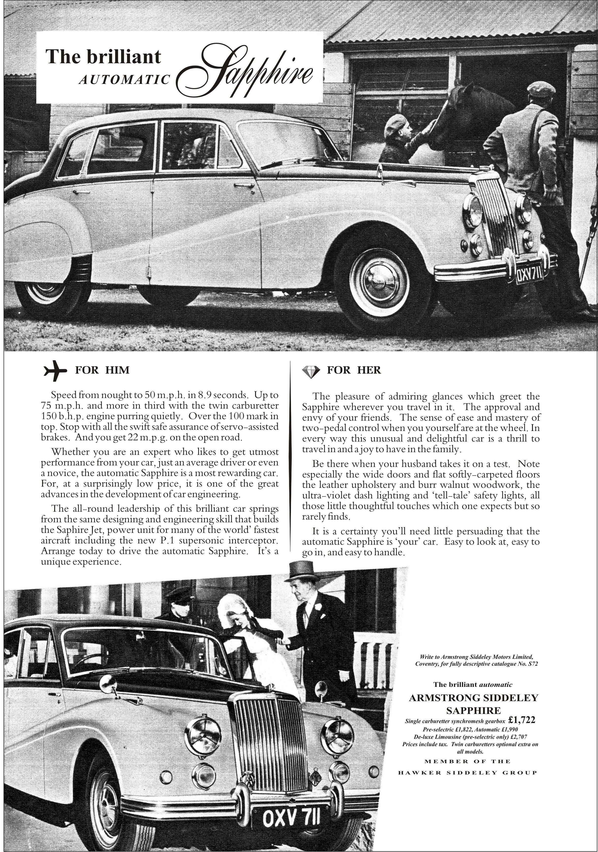Armstrong Siddeley Autocar Car Advert 1955 Armstrong Siddeley