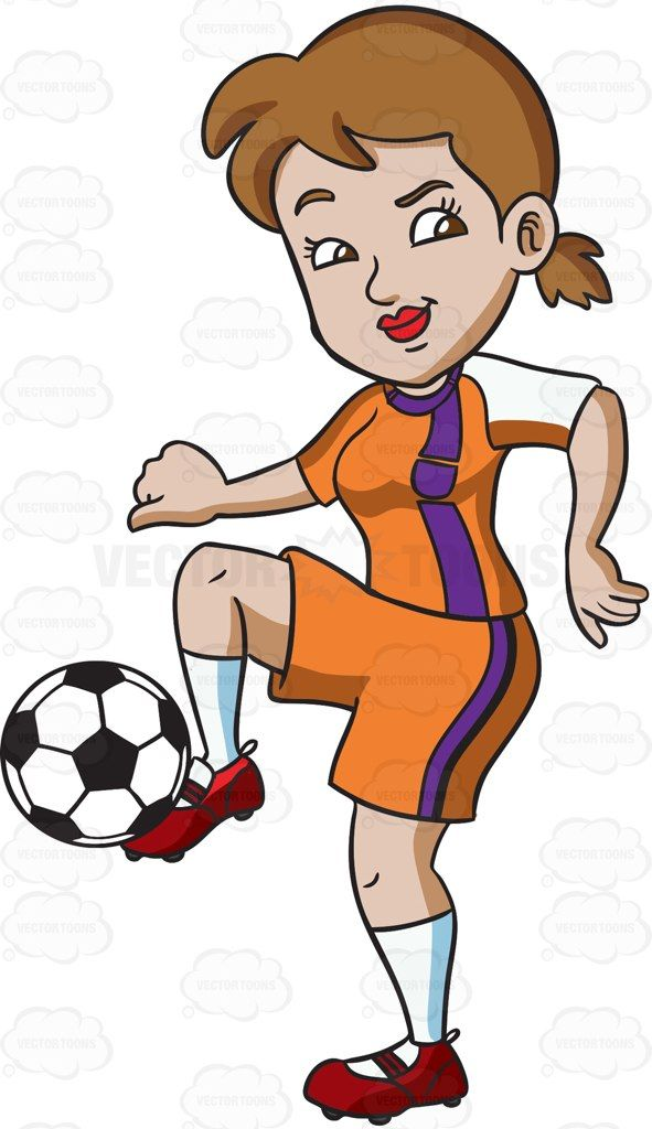 A Female Athlete Dribbling The Ball With Her Foot Vector Graphics Vectortoons Com Female Athletes Athlete Cartoon