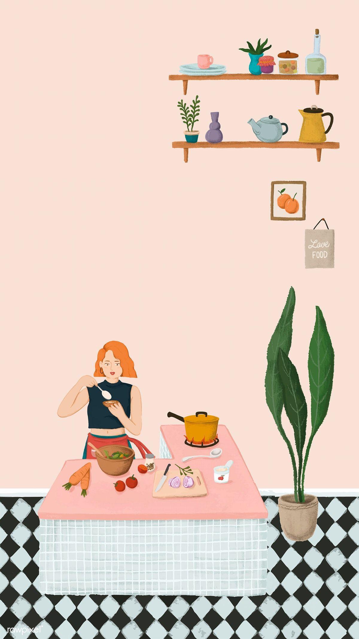 Download Premium Vector Of Girl Cooking In A Kitchen Sketch Style Mobile Ilustrasi Karakter Ilustrasi Ilustrasi Grafis