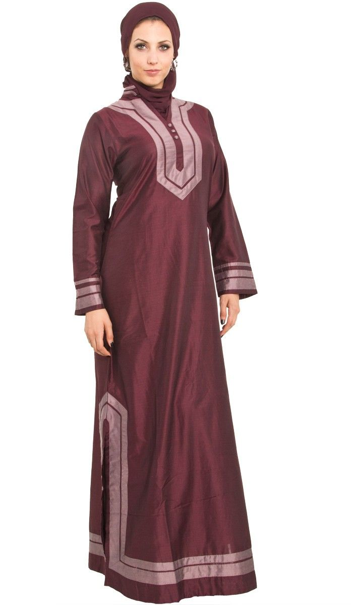 Moroccan Maroon Long Islamic Formal Caftan Dress Abaya