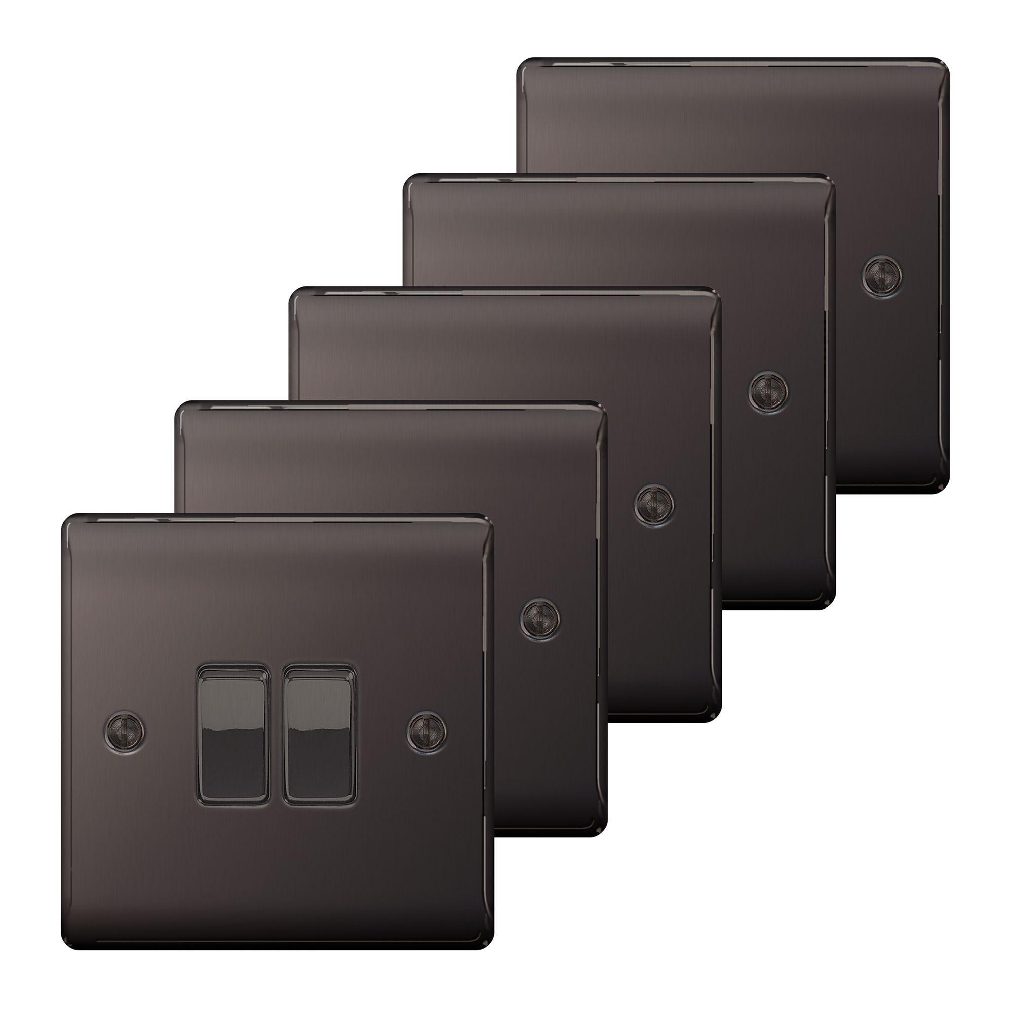 16 Nexus 10A 2-Way Black Nickel Effect Light Switch, Pack of 5 ...