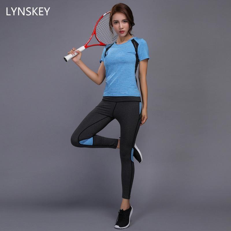 c8c295a0df Women Yoga Set Gym Fitness Clothes Tennis Shirt+Pants Leggings Suit ...