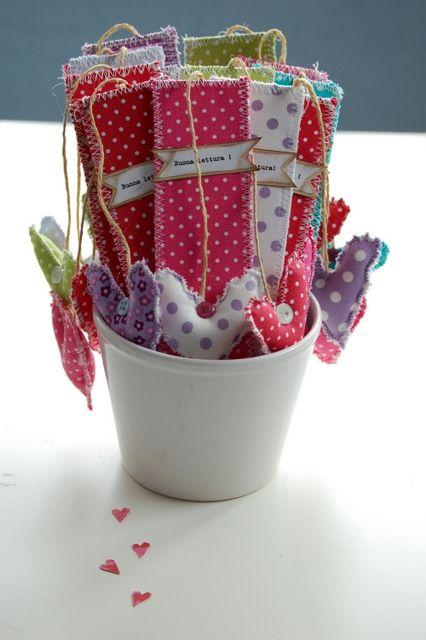 fabric bookmarks, sweet child made teacher gift