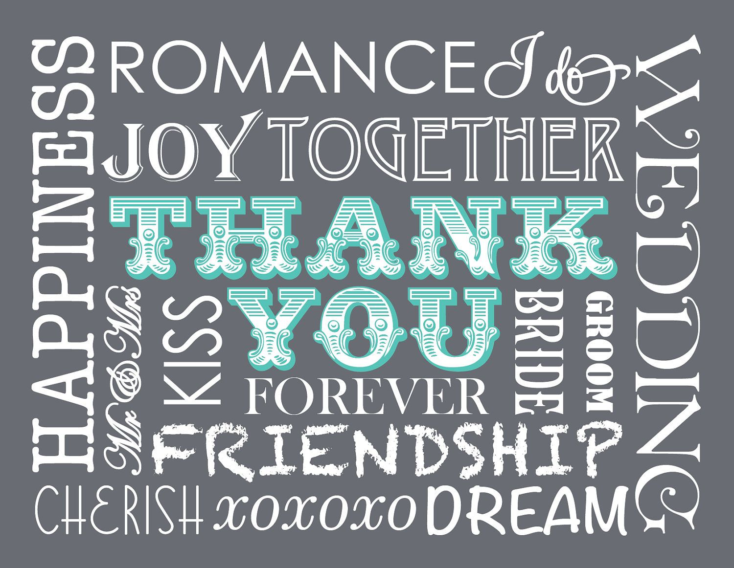 DIY Printable x Typography Wedding Thank You Card  via