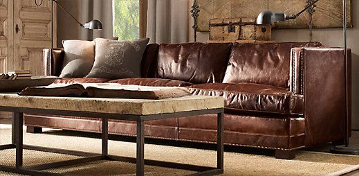 Industrial Decor Living Room Sectional, Where Is Restoration Hardware Furniture Made