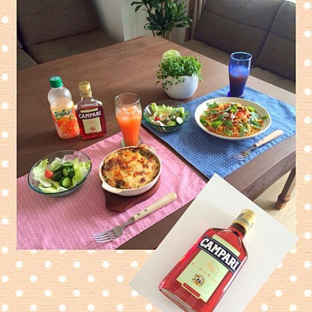 カンパリに合うお料理を作ったよ。いかがですかぁ❓ (^ー^)ノ - 26件のもぐもぐ - カンパリオレンジ、茄子とトマトとバジルのパスタ、ポテトグラタン、家庭菜園のキュウリとミニ by pentarou