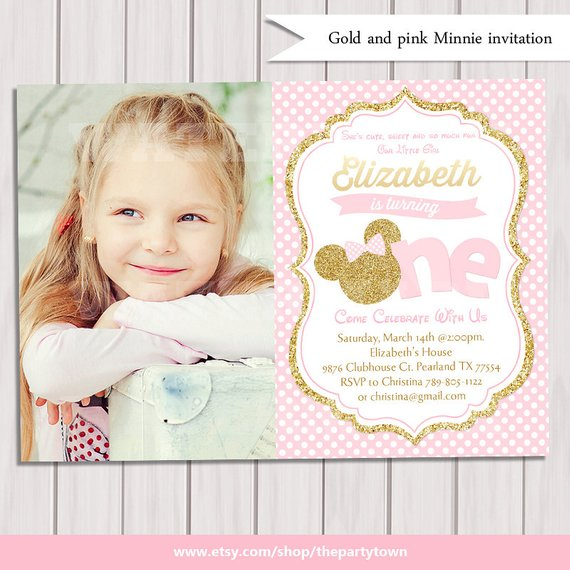 Pink And Gold Minnie Mouse First Birthday Party Invitation Photo 1st Glitter Polka