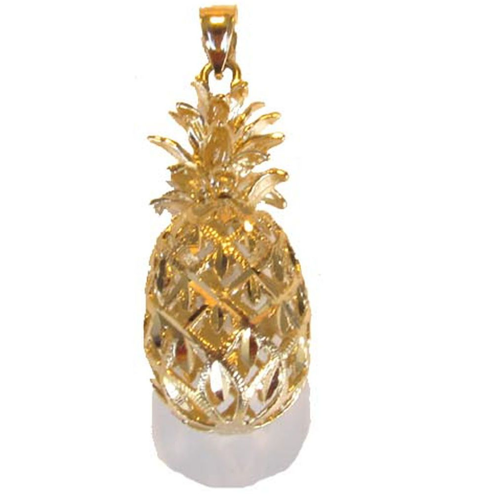 14K Solid Gold 3D Pineapple Pendant Best price Sale!
