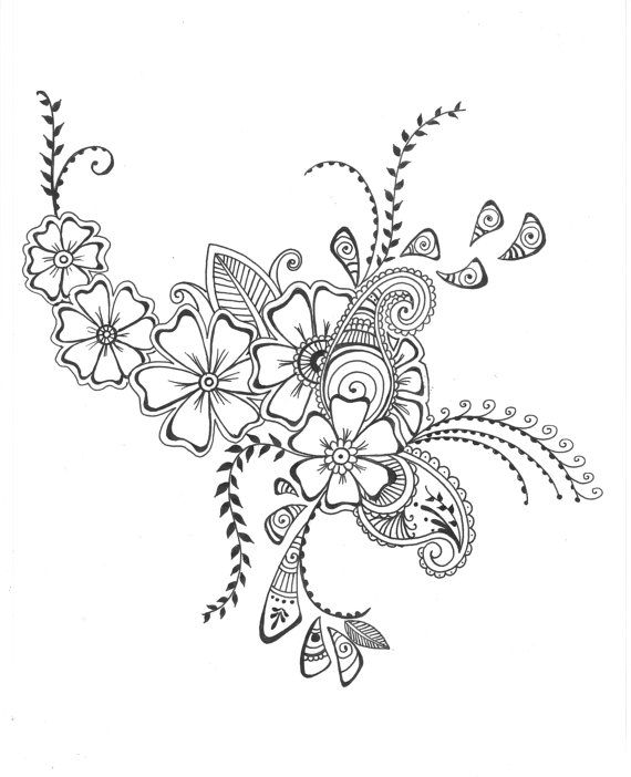 8x10 Art Print Henna Style Decorative Floral Design Ink Pen Drawing Wall Room Decor Flower Via Etsy
