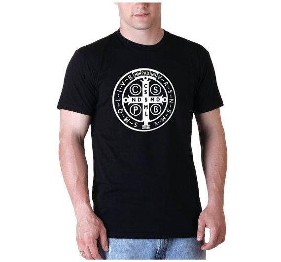 St. Benedict Medal Mens Black Short Sleeve Tee Shirt