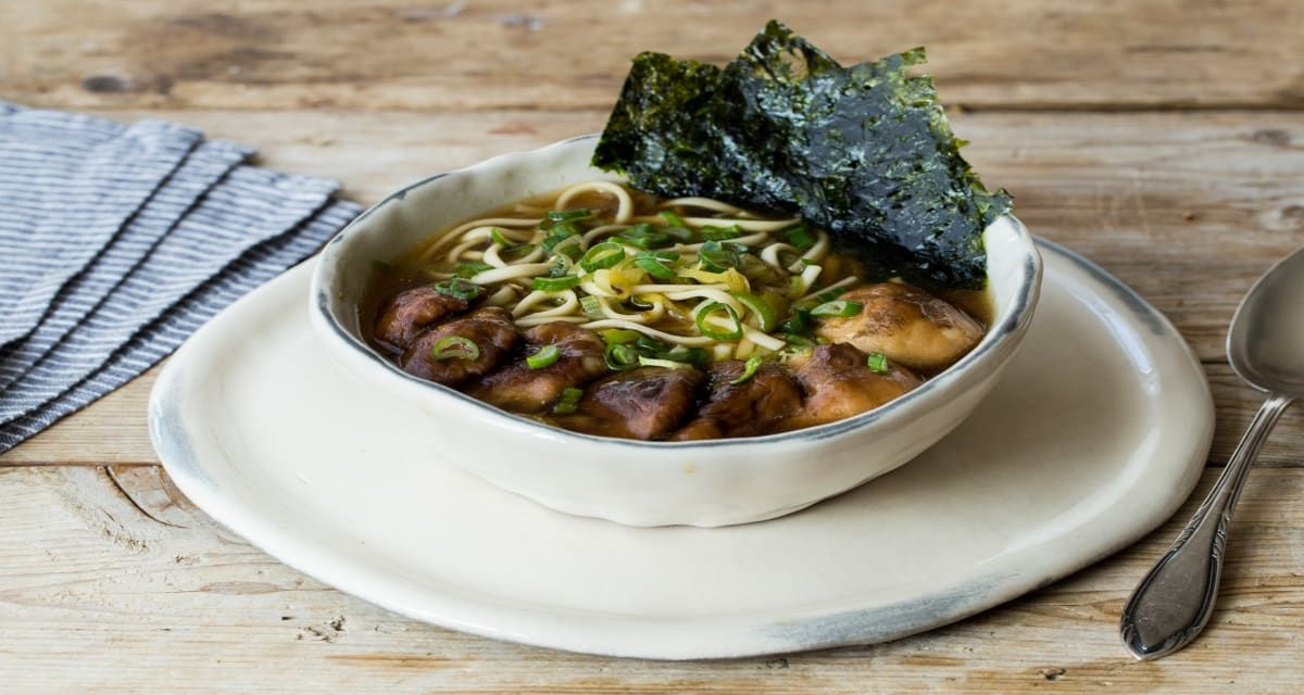 Shiitake Mushroom Ramen With Ginger Leek Broth Udon Recipe